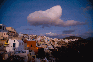 santorini-and-clouds