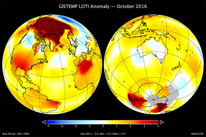 A map of the October 2016 LOTI (land-ocean temperature index) anomaly, showing that the Arctic region was much warmer than average. The United States and North Africa were also relatively warm. The largest area of cooler temperatures stretched across Russia.