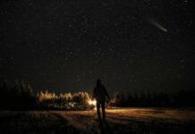 Αστέρι που πέφτει στον νυχτερινό ουρανό