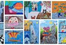 Κολάζ έργων συμμετοχής στην παιδική μπιενάλε της Ιαπωνίας